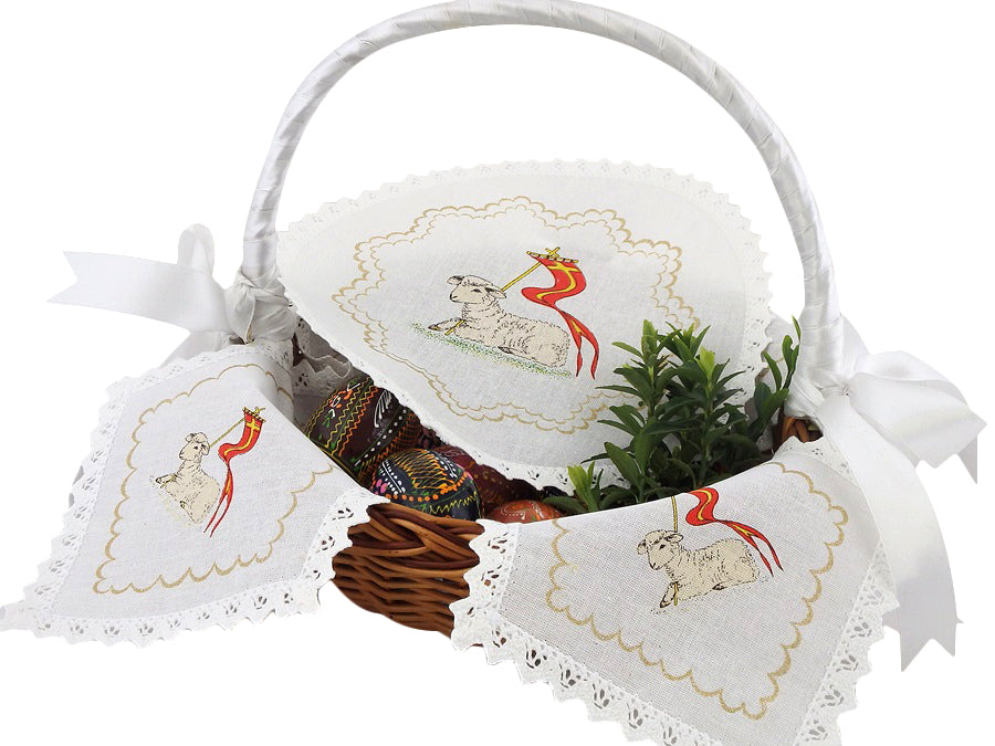 Polish Traditional Doily Liner Set for Easter Basket Blessing with Paschal Lamb