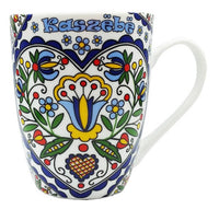 Polish Kashubian Folk Art Ceramic Mug, Kaszebe Heart