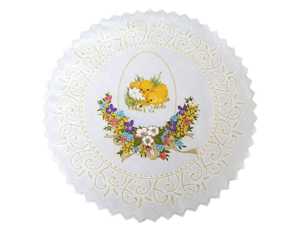 Polish Traditional Easter Chicks Doily Basket Cover