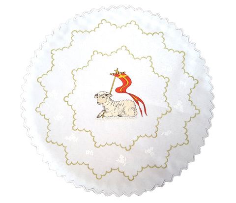 Polish Traditional Easter Paschal Lamb Table Doily, Round