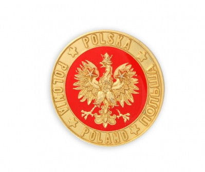 Round Polish Eagle with Gold Toned Accents Lapel Pin