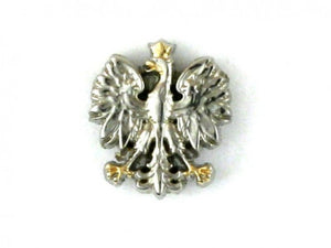 Silver Polish Eagle with Gold Toned Accents Lapel Pin