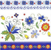 Polish Folk Art Kashubian Blue Border Napkins, Set of 20
