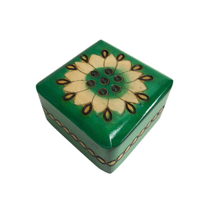 "Polish Folk Floral Wooden Box with Brass Inlays, 3""x3"""