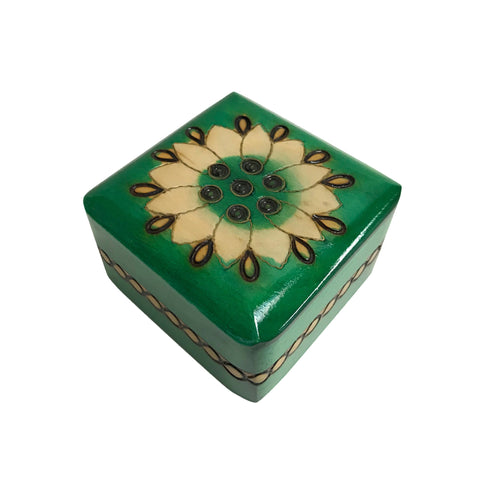 "Polish Floral Wooden Box with Brass Inlays, 3""x3"""