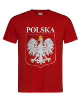 Polska Polish Eagle Emblem Unisex Crew Neck T-Shirt, Red