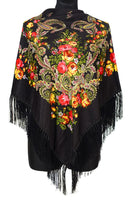 Traditional Russian Pashmina Folk Shawl with Fringes - Russian Collection, Black