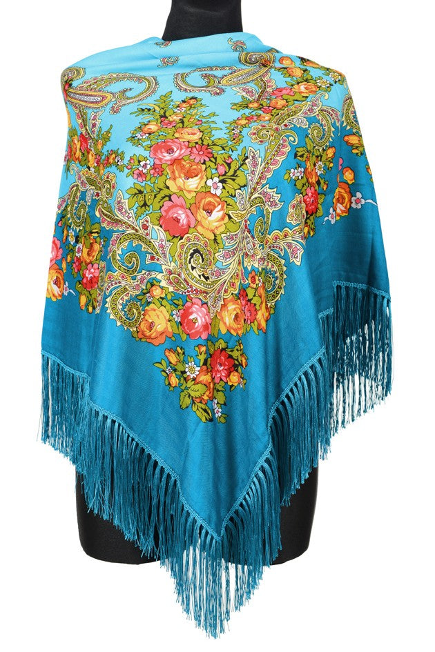 Traditional Russian Pashmina Folk Shawl with Fringes - Russian Collection, Teal Blue