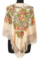 Traditional Russian Pashmina Folk Shawl with Fringes - Russian Collection, Creamy