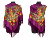 Traditional Russian Pashmina Folk Shawl with Fringes - Russian Collection, Magneta Purple