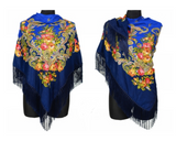 Traditional Russian Pashmina Folk Shawl with Fringes - Russian Collection, Navy Blue