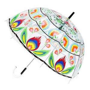 Polish Lowicz Folk Art Transparent Umbrella