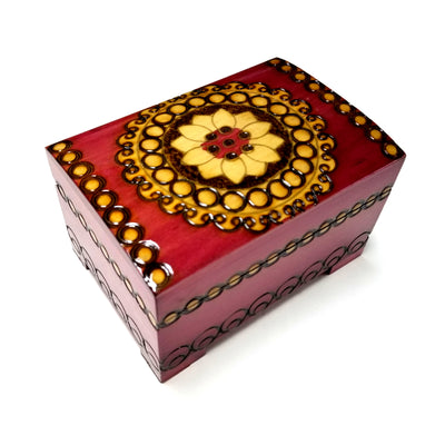 Polish Folk Floral Rosette Wooden Chest Box with Brass Inlays