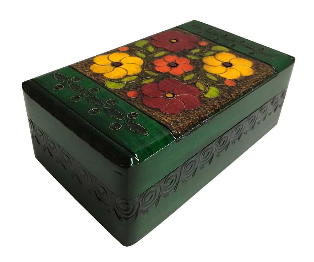 Polish Folk Floral Wooden Box with Brass Inlays and Inside Compartments