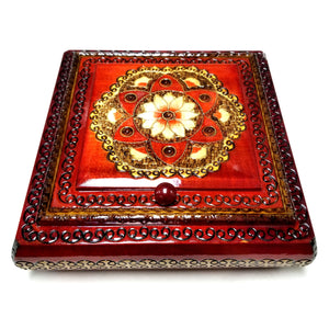 "Polish Floral Rosette Wooden Jewelry Box with Mirror, Brass Inlays and Compartments, 8.5""x 8.5"""