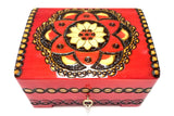 "Polish Folk Floral Rosette Wooden Box with Brass Inlays and Key, 7""x 5.5"""