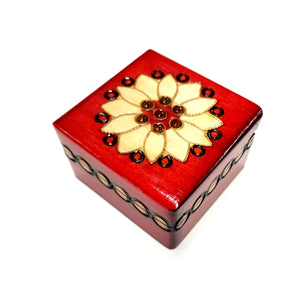 "Polish Folk Floral Rosette Wooden Box with Brass Inlays, 3""x3"""