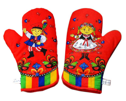 Polish Folk Art Krakow Lowicz 2 Oven Mitts