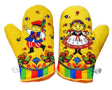 Polish Folk Art Krakow Dancers Gift Set with 2 Kitchen Towels and 1 Oven Mitt in Box