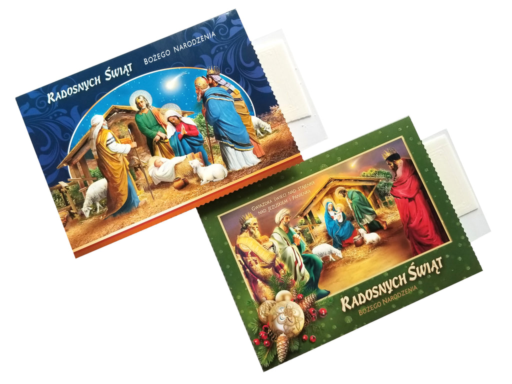 Set of 2 Traditional Polish Religious Christmas Cards with Wafers (Oplatki)