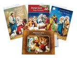 Set of 4 Traditional Polish Religious Christmas Cards with Wafers (Oplatki) (B)