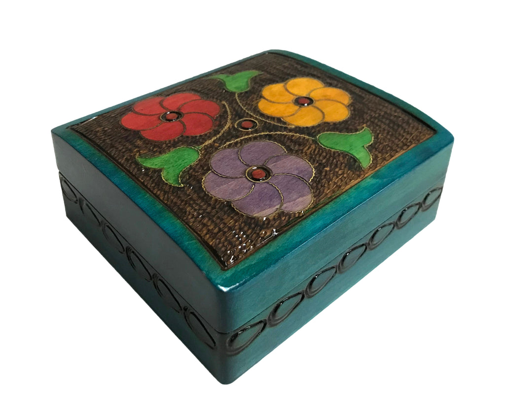"Polish Folk Floral Wooden Box with Brass Inlays, 4.5""x4"""