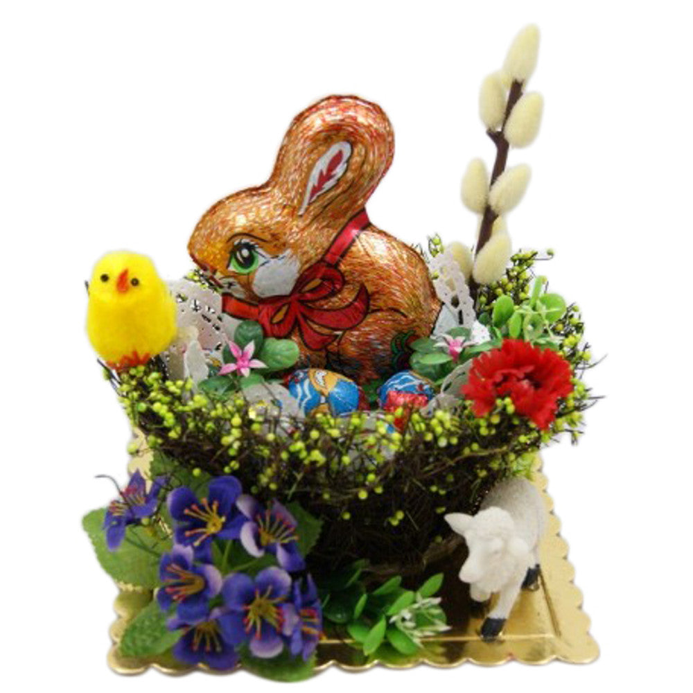 Polish Decorative Gift Basket with Chocolate Easter Bunny and Egg