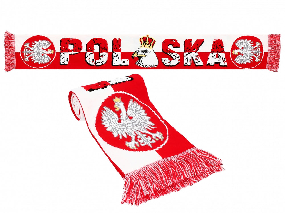 Thick Double-sided Knitted Polska Poland Soccer Scarf, Polska Crowned Eagle