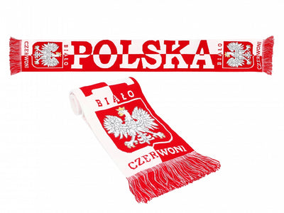 Thick Double-sided Knitted Polska Poland Soccer Scarf, Traditional Polska Eagle