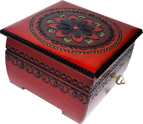 Polish Wooden Jewelry Keepsake Box with Floral Design, Red