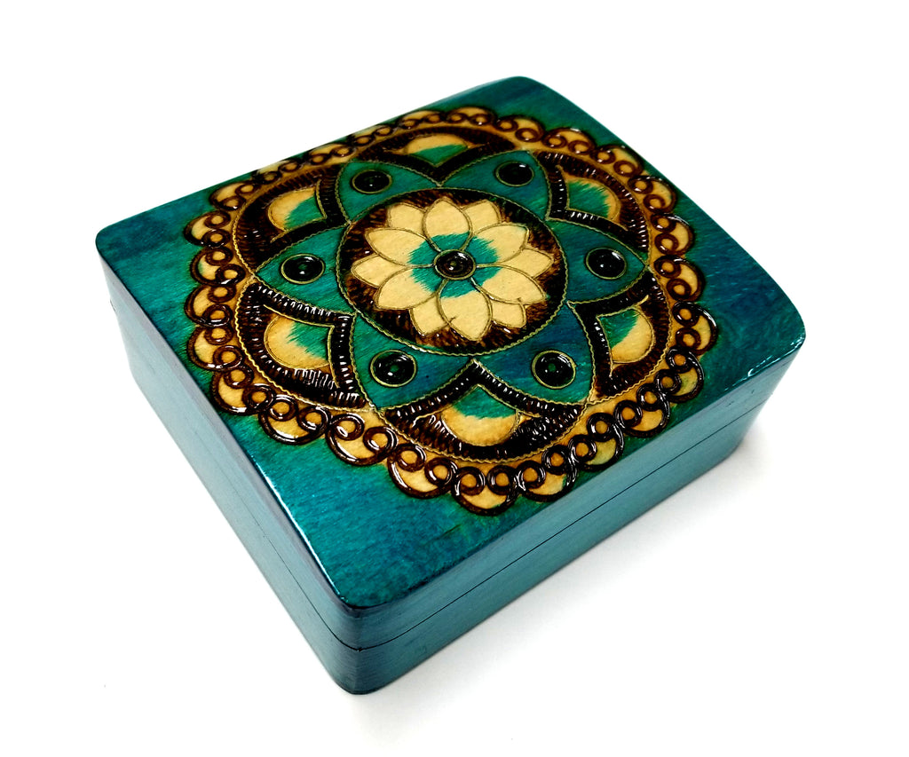 "Polish Folk Floral Rosette Wooden Box with Brass Inlays, 4.5""x4"""