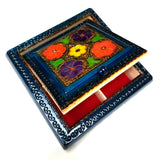 "Polish Floral Wooden Jewelry Box with Mirror, Brass Inlays and Compartments, 8.5""x 8.5"""