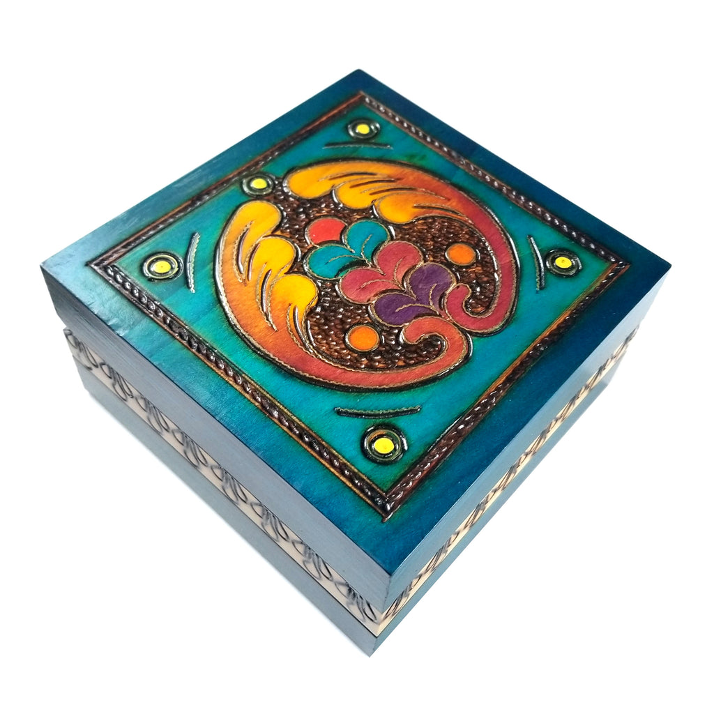 "Polish Square Wooden Box with Intricate Pattern, 4.75""x 4.75"" (Turquoise Angel Wings)"