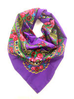 Traditional Polish Folk Head Scarf - Cotton Collection, Purple