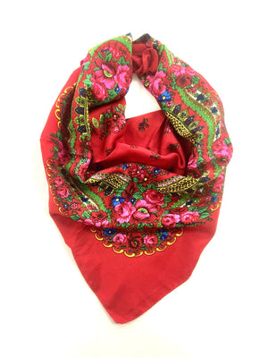 Traditional Polish Folk Head Scarf - Cotton Collection, Red