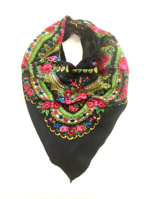 Traditional Polish Folk Head Scarf - Cotton Collection, Black