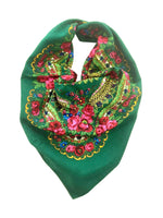 Traditional Polish Folk Head Scarf - Cotton Collection, Green