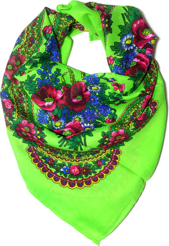 Traditional Polish Ukrainian Folk Cotton Head Scarf - Bright Green - Taste of Poland  - 1