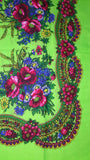 Traditional Polish Ukrainian Folk Cotton Head Scarf - Bright Green - Taste of Poland  - 2
