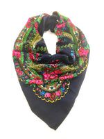 Traditional Polish Folk Head Scarf - Cotton Collection, Navy Blue