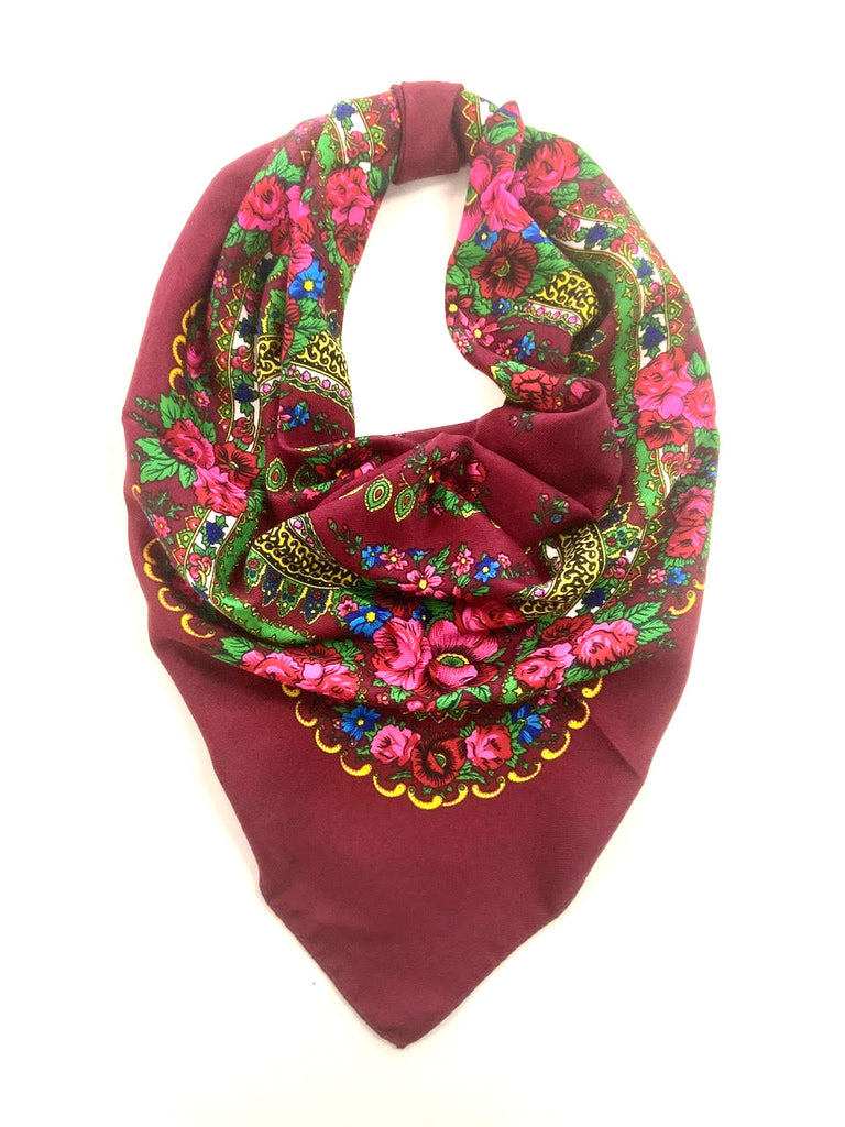 Traditional Polish Folk Head Scarf - Cotton Collection, Burgundy
