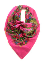 Traditional Polish Folk Head Scarf - Cotton Collection, Pink