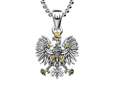 Traditional Polish Eagle Silver Pendant with Gold Plated Enrichment - Taste of Poland - 1