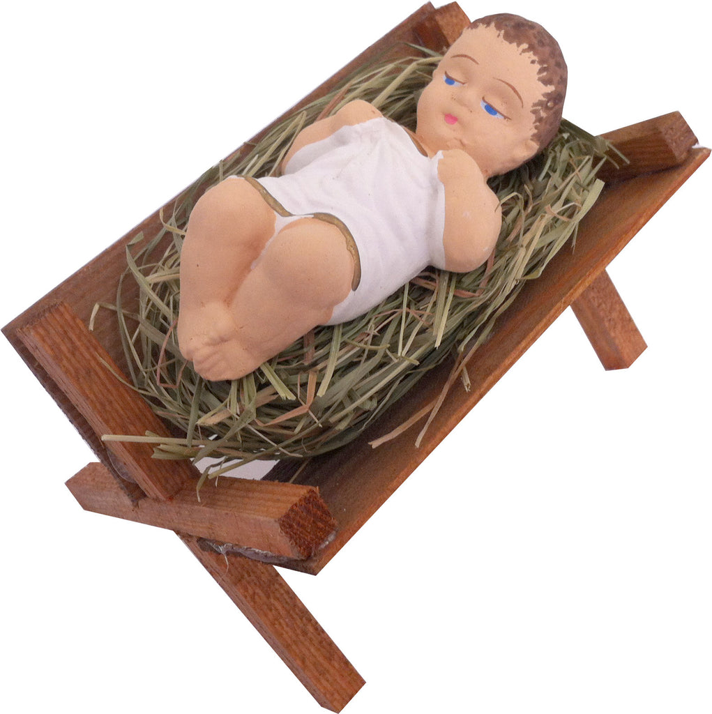 Baby Jesus in Wooden Manger & Natural Hay - Taste of Poland  - 1