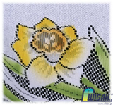 "Polish Easter Oval Daffodils Folk Art Table Runner Linen Topper 49"" x 24"""