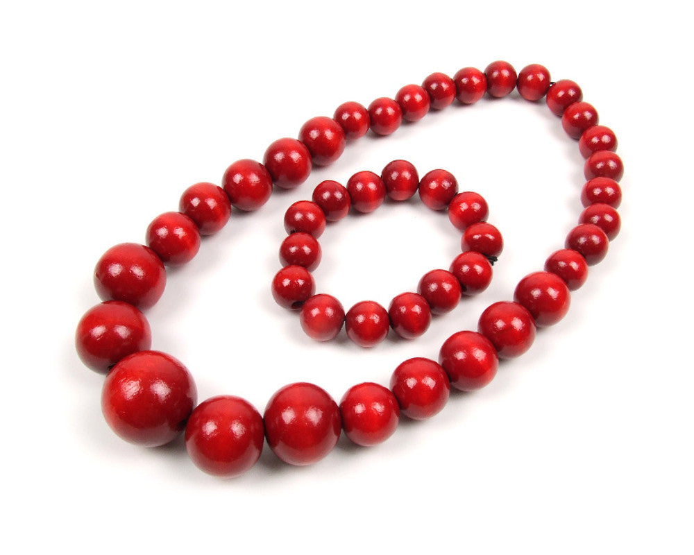 FolkFashion Wooden Bead Necklace and Bracelet Set - Red - Taste of Poland  - 1