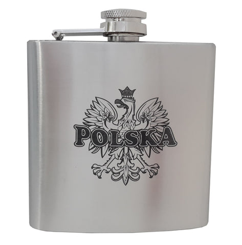 Black Polska on Eagle Stainless Steel Flask 6oz - Taste of Poland