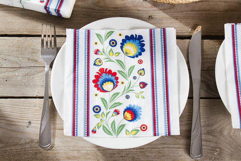 Polish Lowicz Folk Art Border Luncheon Napkins, Set of 20