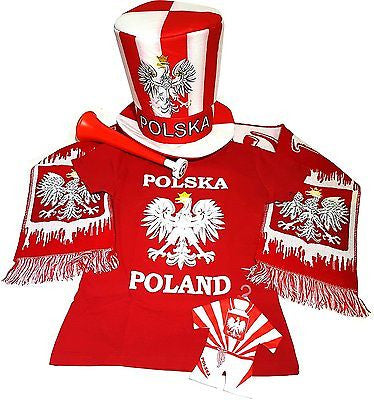 Poland Soccer Fan Accessory Set: Scarf, Hat, Trumpet, Mini Uniform & T-Shirt - Medium / Red - Taste of Poland  - 1