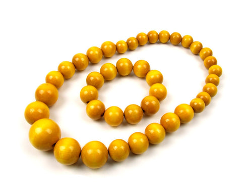 FolkFashion Wooden Bead Necklace and Bracelet Set - Yellow - Taste of Poland  - 1